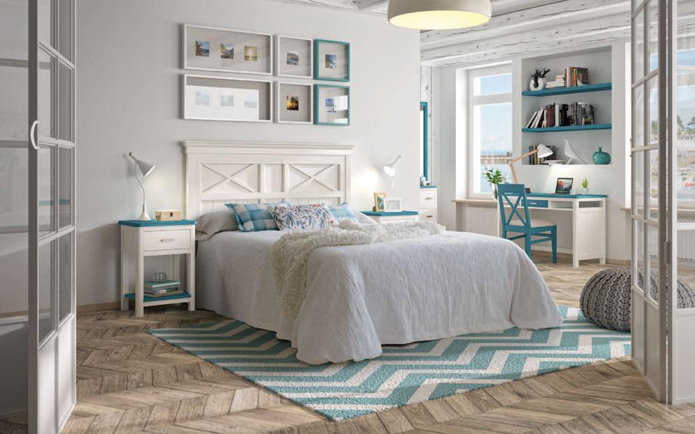 Dormitorio 11a-0033 color azul y blanco vista general