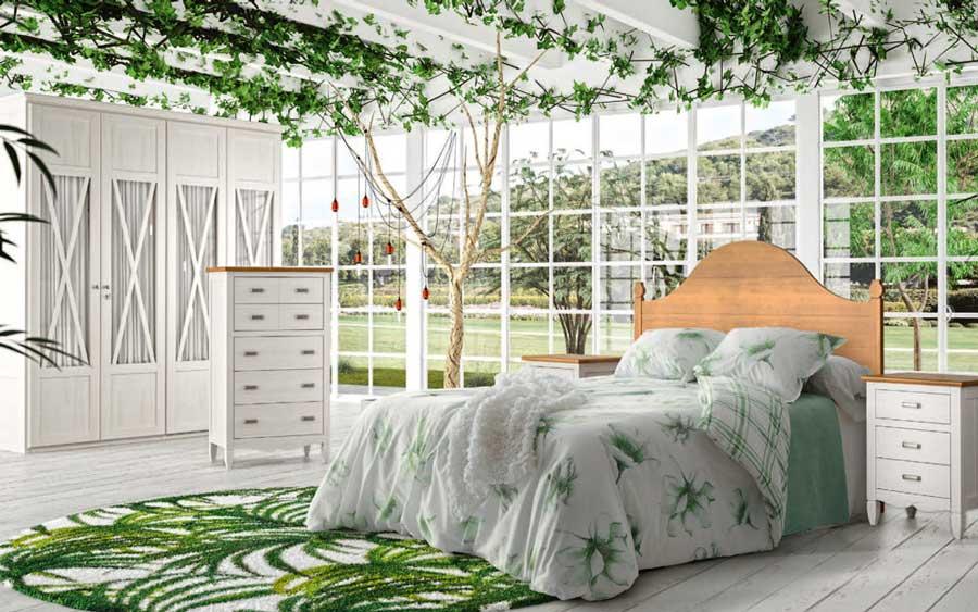 Dormitorio 11a-0039 color blanco y madera vista general