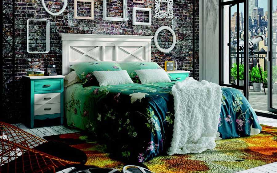 Dormitorio de matrimonio 11a-0040 color blanco y azul vista general