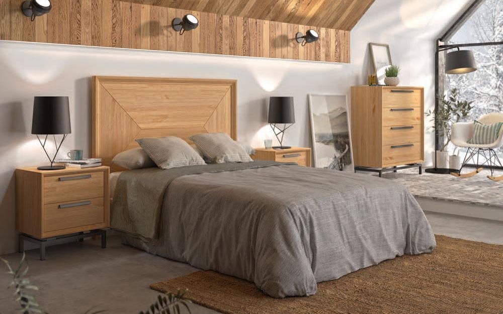 Dormitorio de matrimonio 11a-0050 acabados en madera vista general