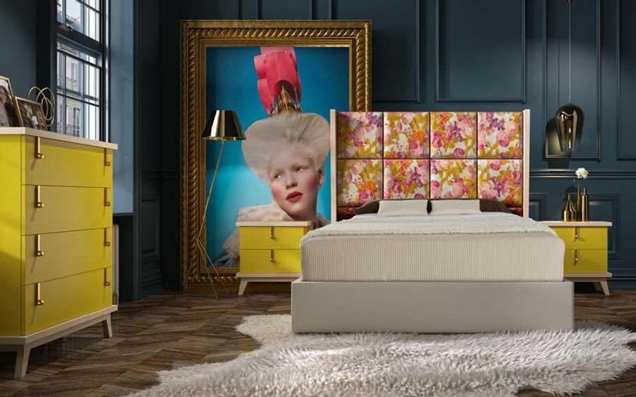 Dormitorio de matrimonio 11a-0073 en color amarillo vista general
