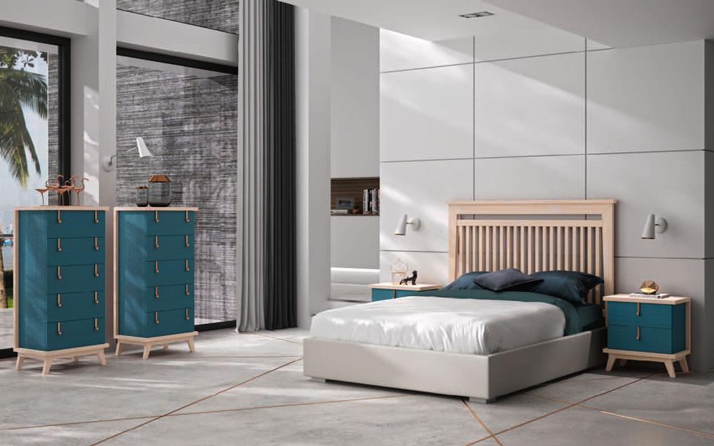 Dormitorio de matrimonio 11a-0074 en color azul y madera vista general