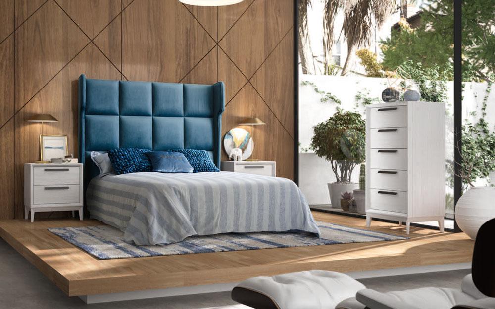 Dormitorio de matrimonio 11a-0075 en color blanco y azul vista general