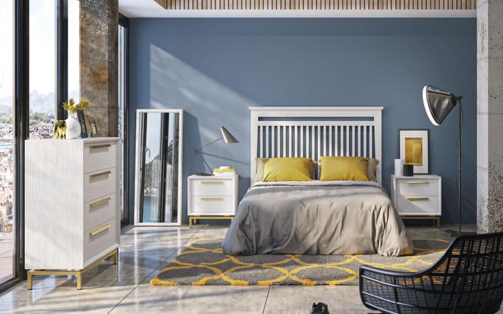 Dormitorio de matrimonio 11a-0077 en color madera y dorado vista frontal