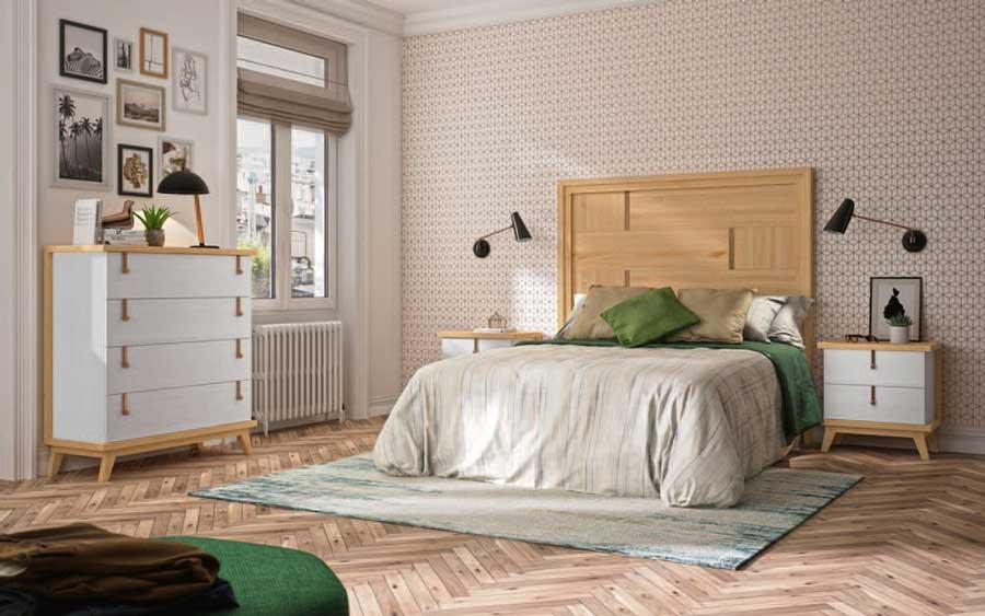 Dormitorio de matrimonio 11a-0078 en color blanco y madera vista general