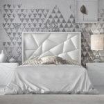 Dormitorio de matrimonio 11a-0079 en color blanco y detalles geométricos vista frontal