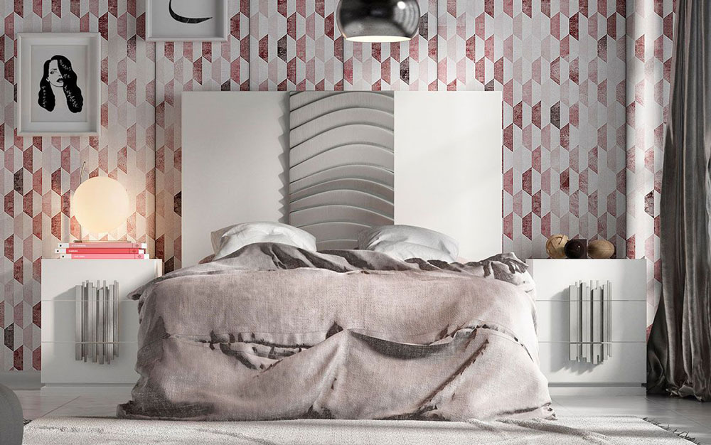 Dormitorio de matrimonio 11a-0080 en color blanco y plateado vista frontal