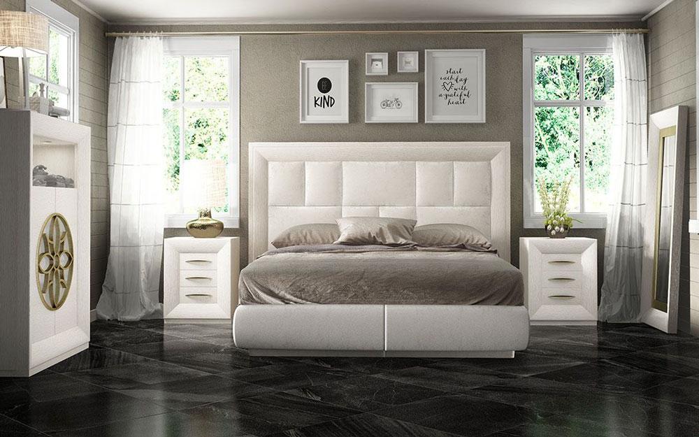 Dormitorio de matrimonio 11a-0082 color blanco y dorado vista frontal