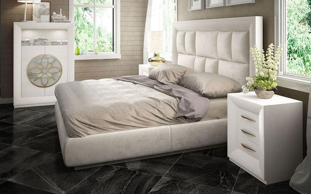 Dormitorio de matrimonio 11a-0082 color blanco y dorado vista lateral