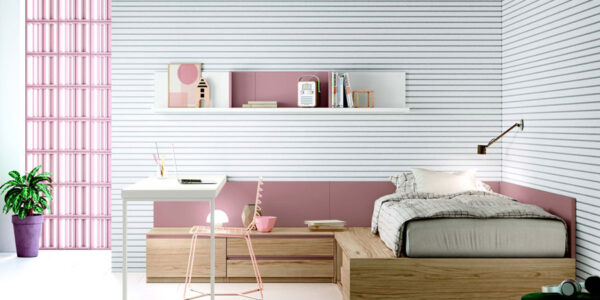 Escritorio de dormitorio juvenil 12f-0006 color rosa y madera vista frontal