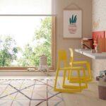Escritorio de dormitorio kids con cama abatible doble 12d-0005 color rojo naranja y blanco vista de detalle lateral
