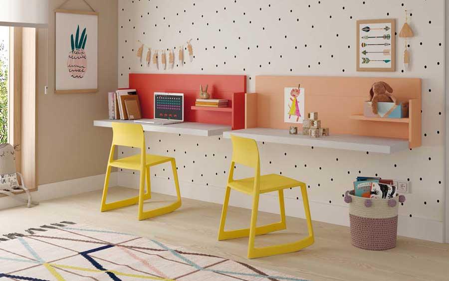 Escritorio de dormitorio kids con cama abatible doble 12d-0005 color rojo naranja y blanco vista de detalle