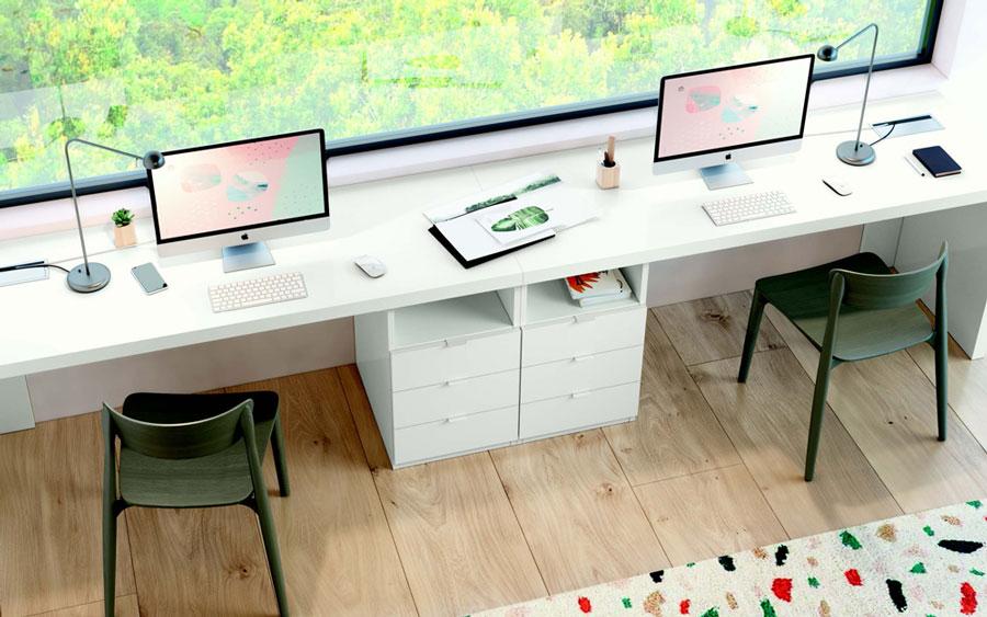 Escritorio de dormitorio juvenil 12f-0007 color blanco y madera vista de detalle