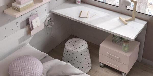 Escritorio de dormitorio con cama simple juvenil 12f-0004 color nevada blanco y rosa vista de detalle