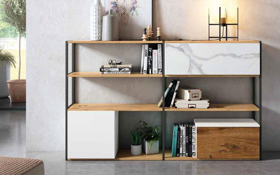 Mueble auxiliar estantería 13c-0003 color blanco con madera vista frontal
