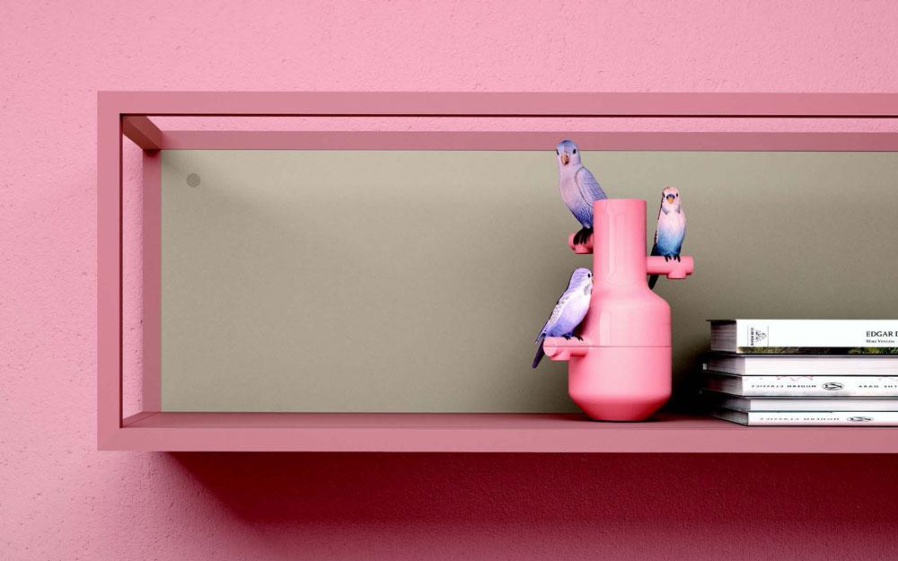 Estantería de dormitorio kids con cama bloc 12c-0006 color rosa y verde vista de detalle