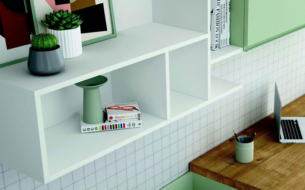 Estantería de dormitorio kids 12c-0009 color blanco y verde vista de detalle