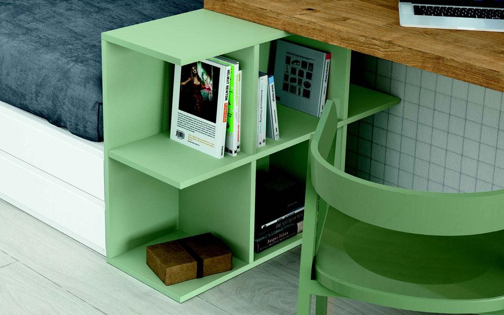 Escritorio de dormitorio kids 12c-0009 color blanco y verde vista de detalle