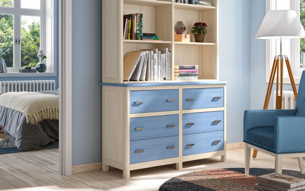 Estantería de dormitorio 11a-0032 color azul y madera vista de detalle