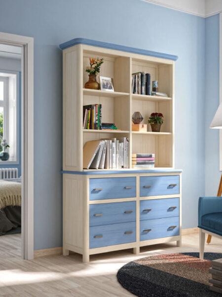 Estantería de dormitorio 11a-0032 color azul y madera vista general