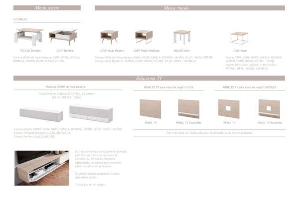 Ficha técnica de composición de salón y mueble tv