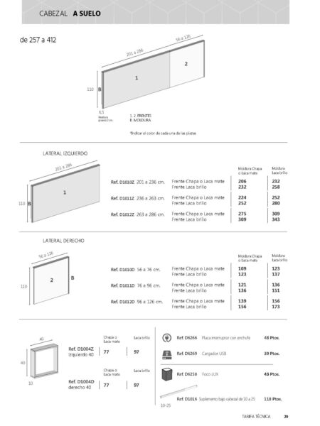 Ficha técnica de medidas 0007-0008-0009 cabezal a suelo