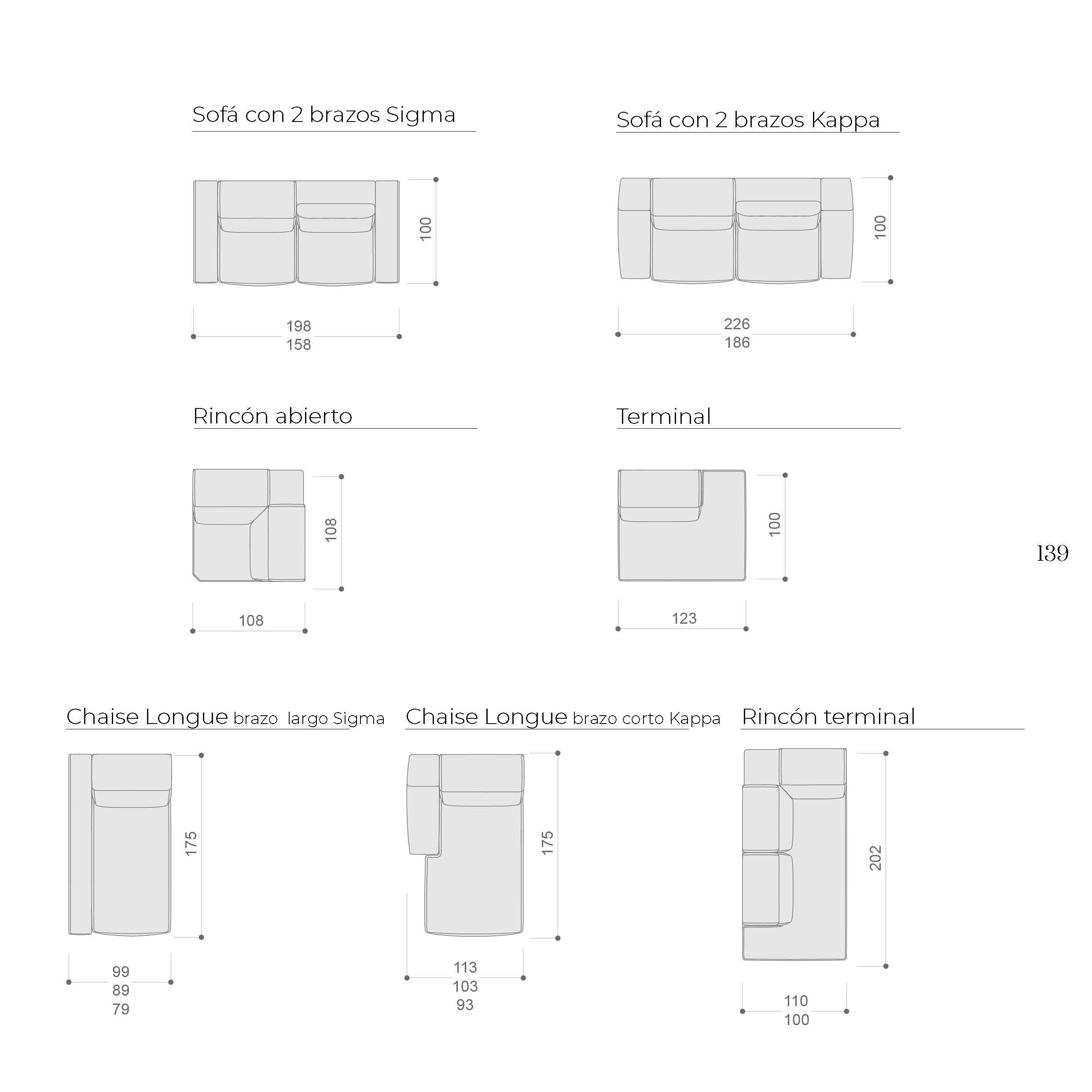 Ficha técnica medidas 10c-0009-10d-0015 sofá con 2brazos y Chaise Longue