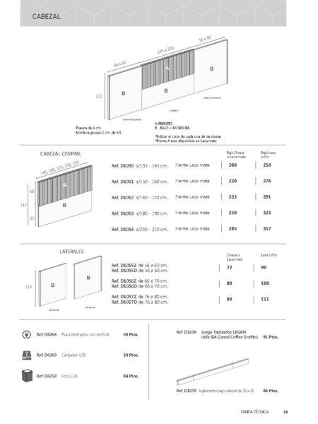 Ficha técnica medidas cabezal