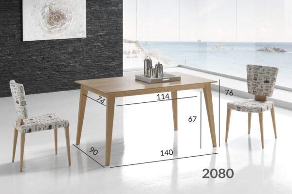 Ficha técnica de medidas de mesa de comedor de madera 14b-0017