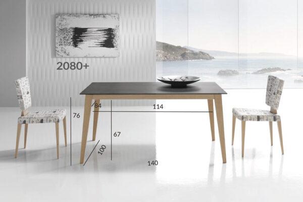 Ficha técnica de medidas de mesa de comedor negro con madera 14b-0017