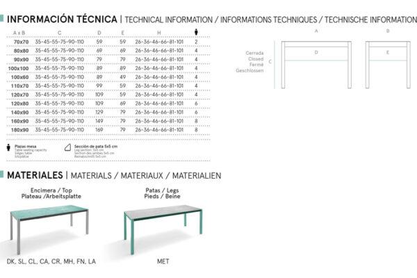 Ficha técnica de mesa de cocina 15b-0001