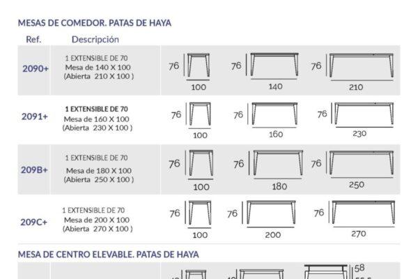 Ficha técnica de mesa de comedor 14b-0014 ancho 100