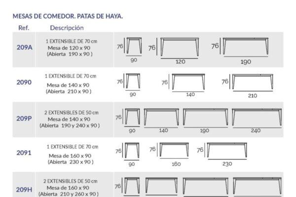 Ficha técnica de mesa de comedor 14b-0014 ancho 90