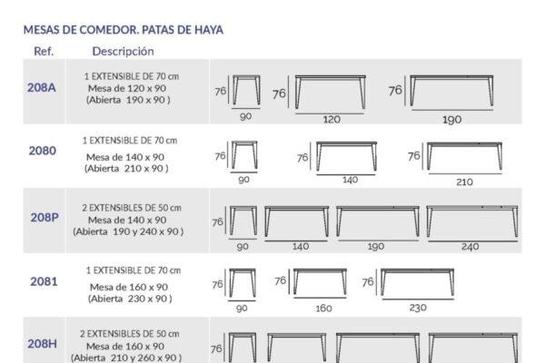 Ficha técnica de mesa de comdeor 14b-0017 ancho 100
