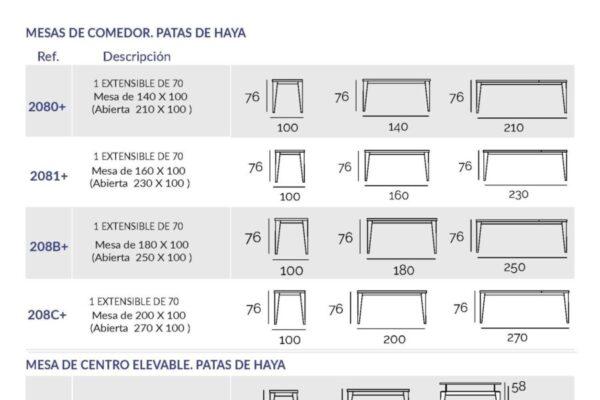 Ficha técnica de mesa de comdeor 14b-0017 ancho 90