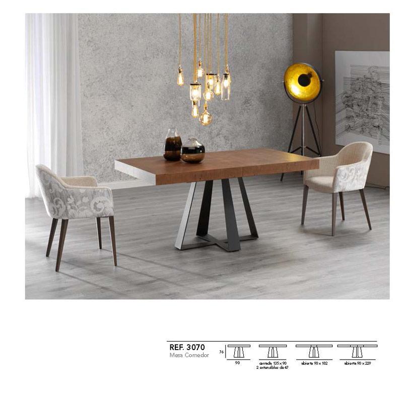 Ficha técnica de mesa de comedor negro y madera 14b-0013