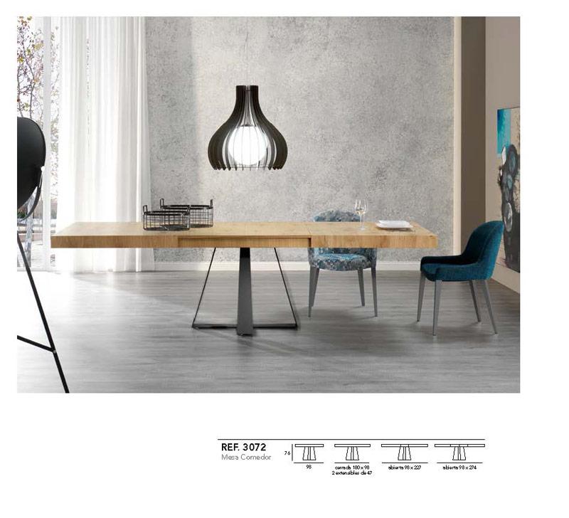 Ficha técnica de mesa de comedor negro y madera abierta 14b-0013