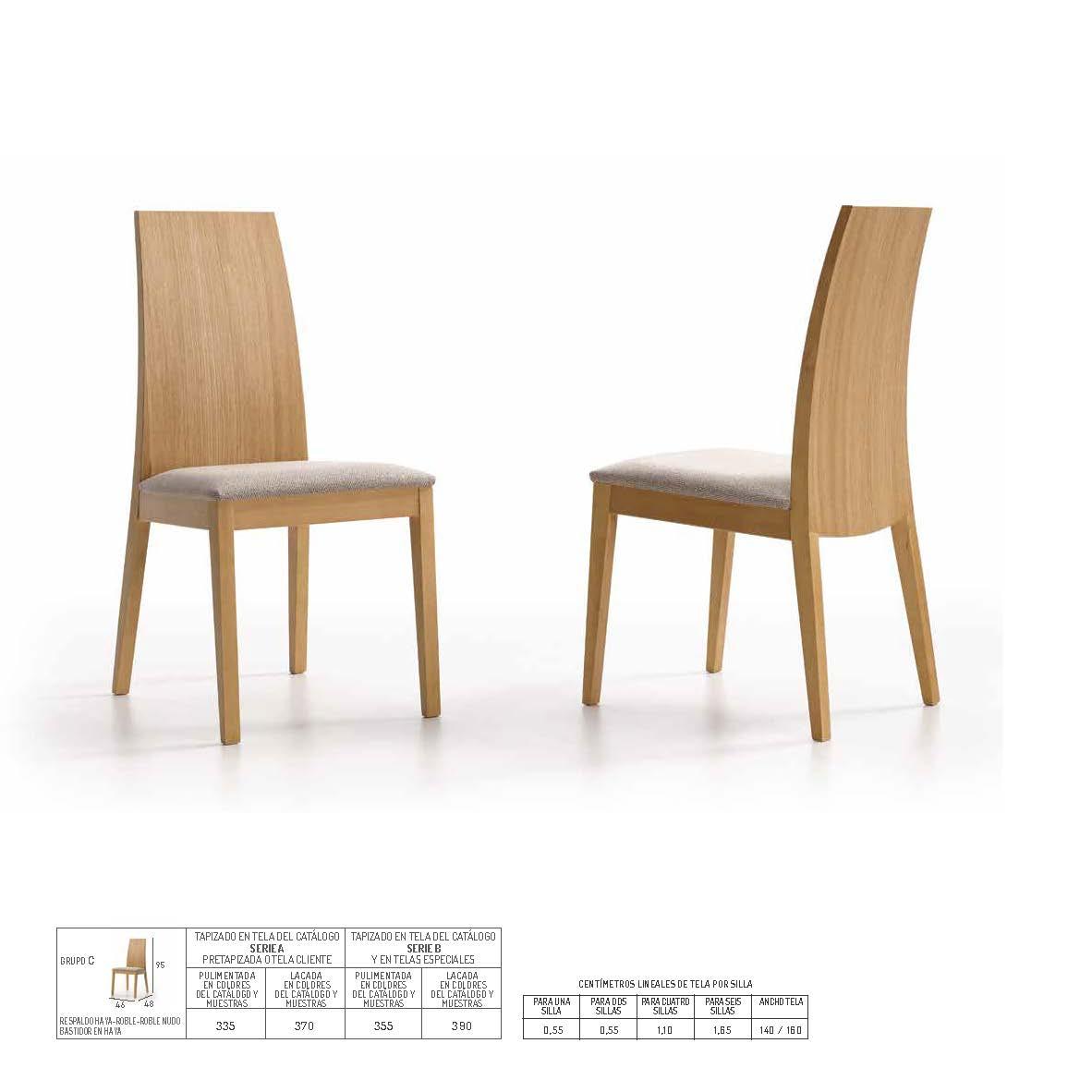 Ficha técnica de sillas de comedor 14f-0005