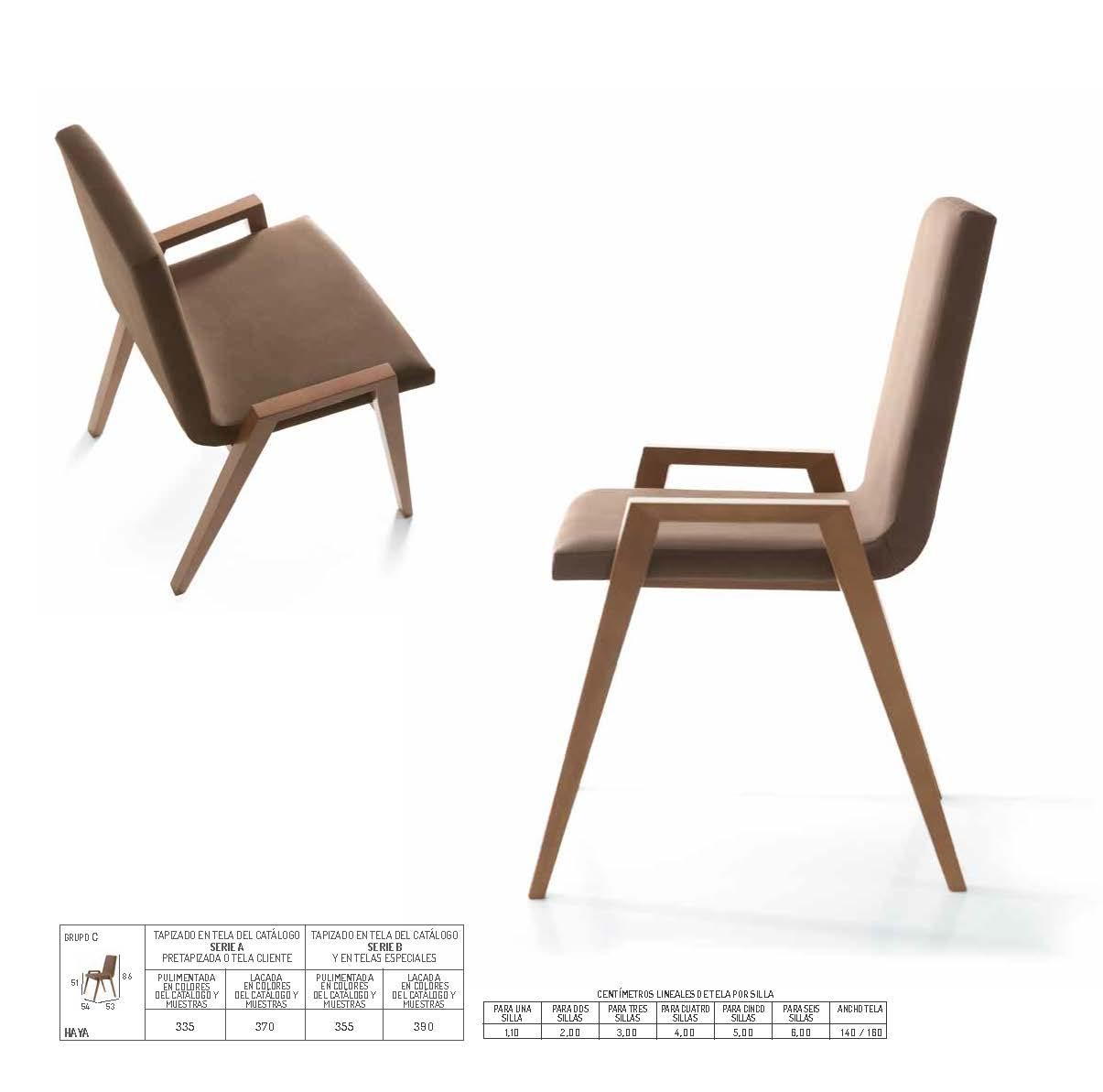Ficha técnica de sillas de comedor 14f-0010