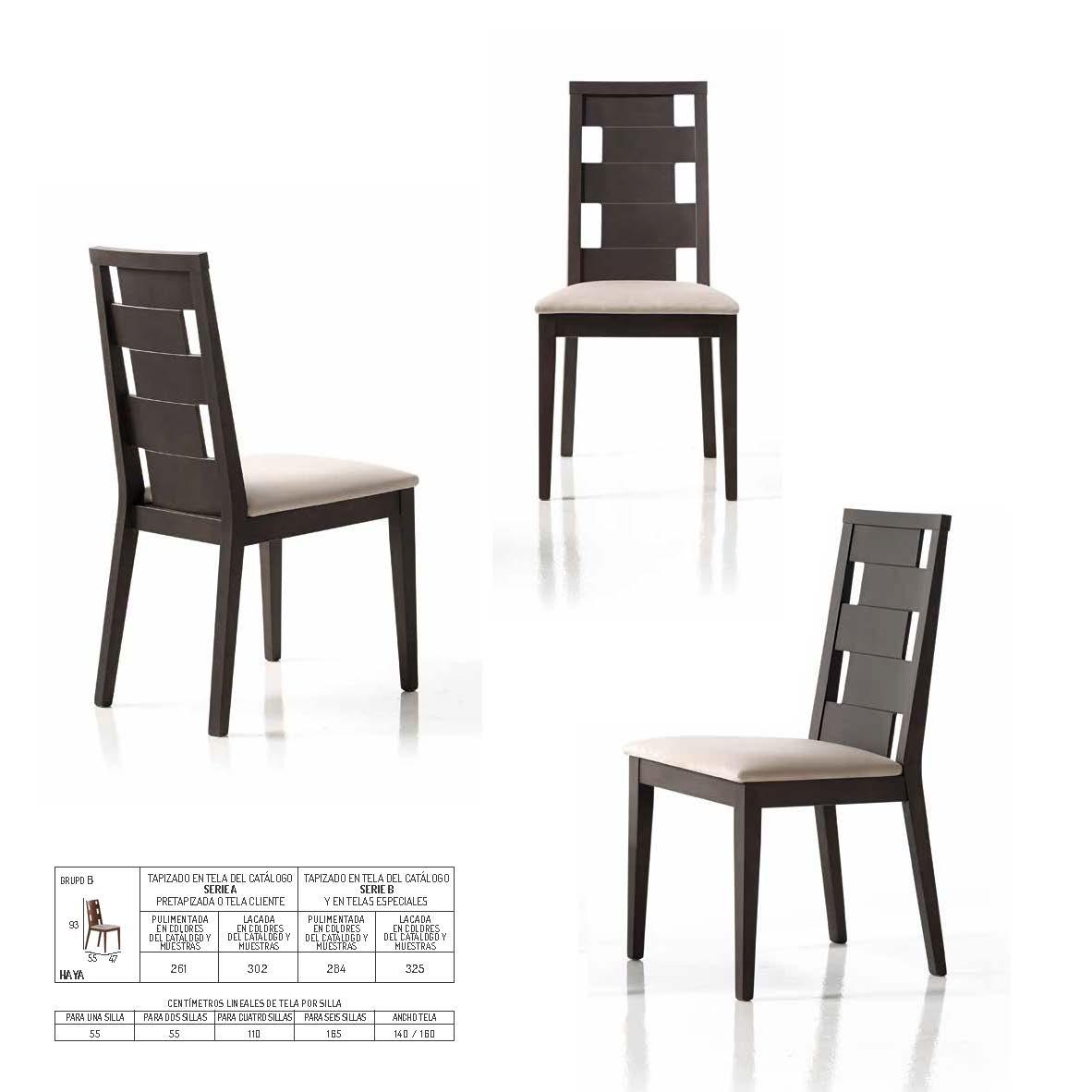 Ficha técnica de sillas de comedor 14f-0011