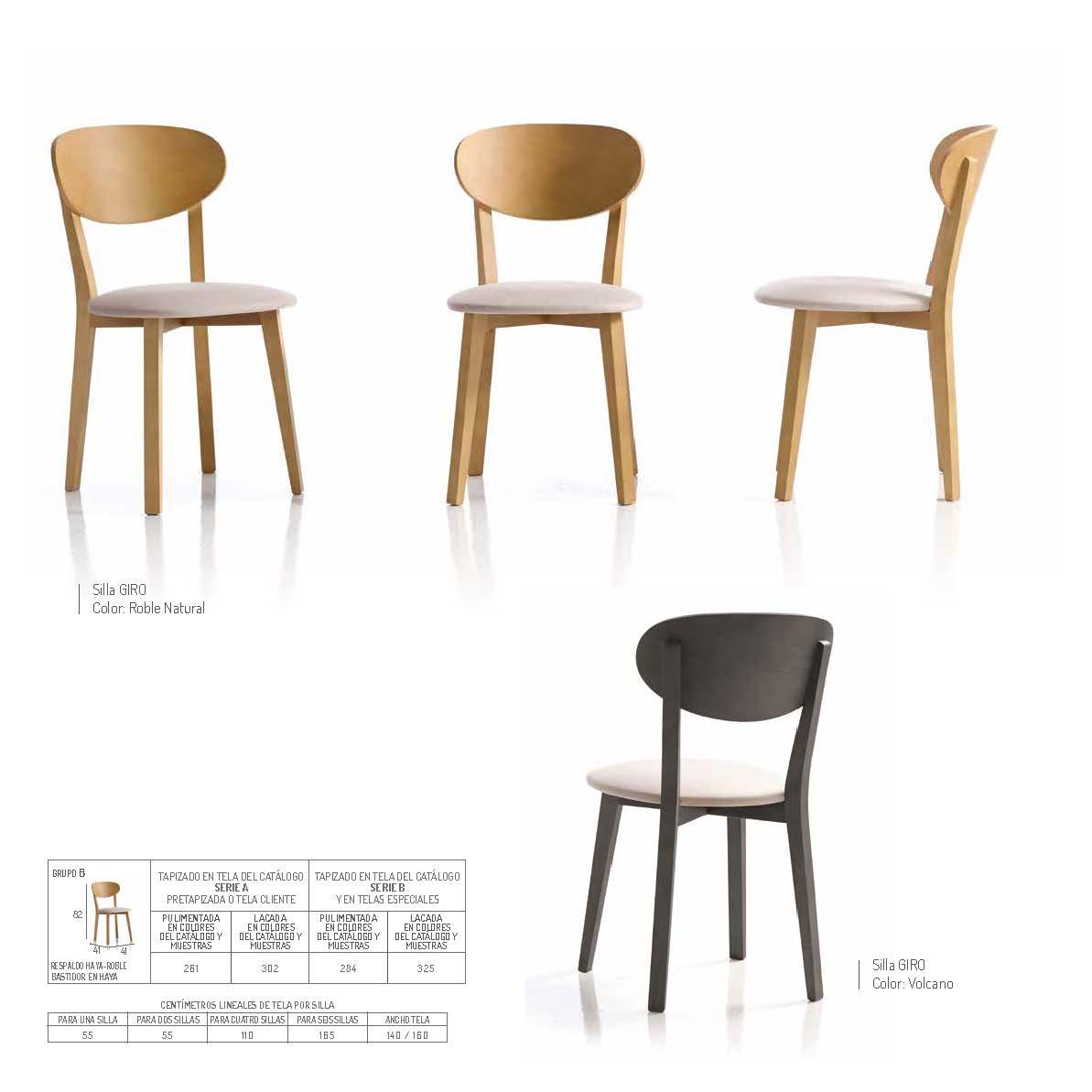 Ficha técnica de sillas de comedor 14f-0012