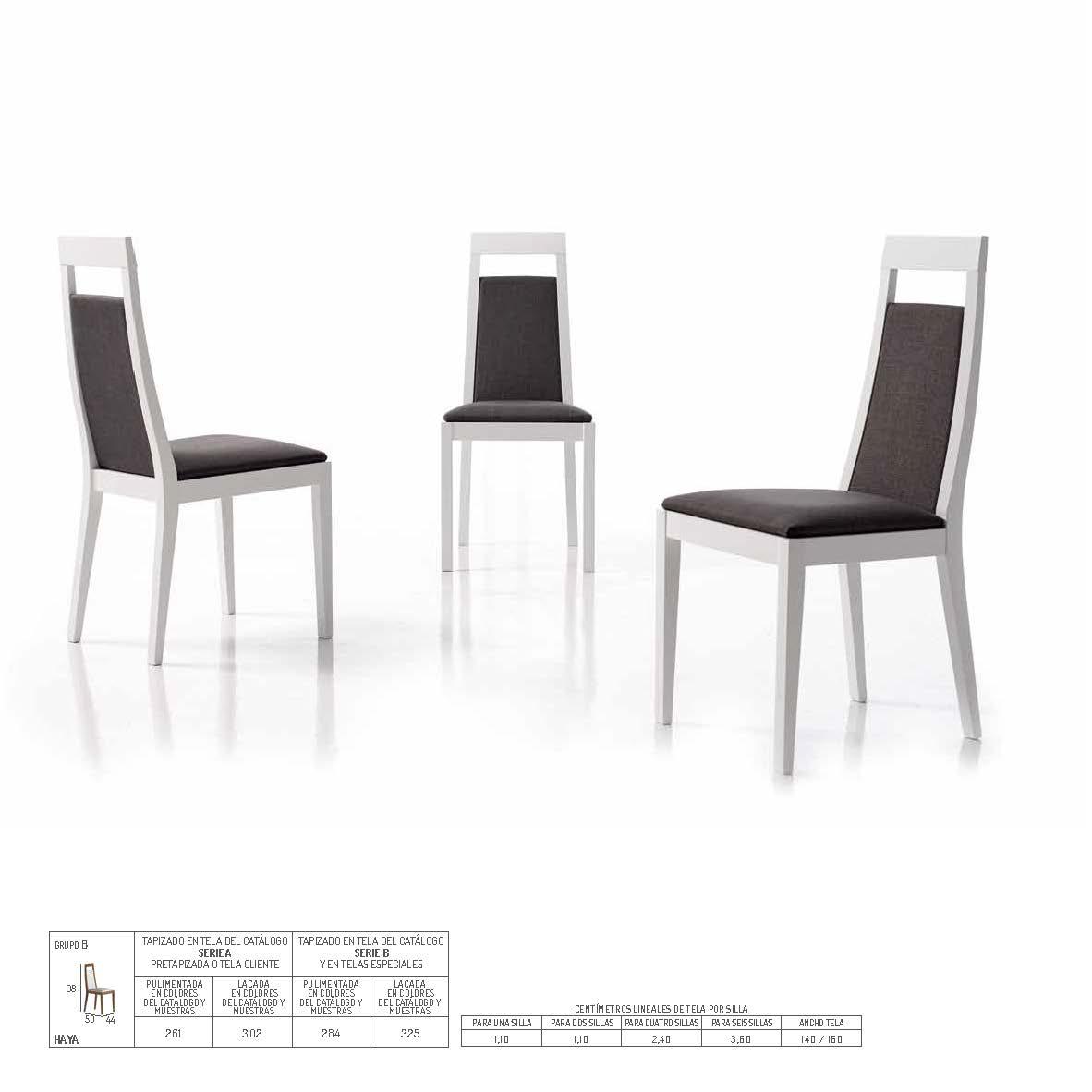 Ficha técnica de sillas de comedor 14f-0016
