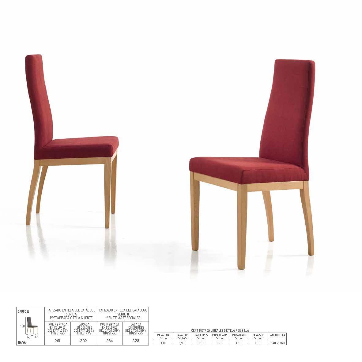 Ficha técnica de sillas de comedor 14f-0017