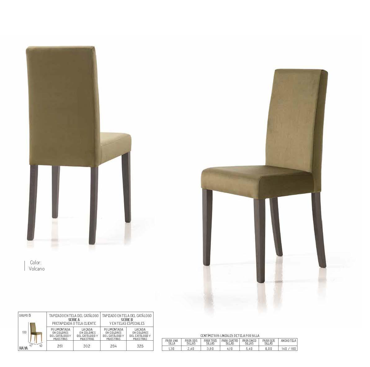 Ficha técnica de sillas de comedor 14f-0018