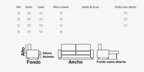 Ficha técnica sofá cama 10e-0005