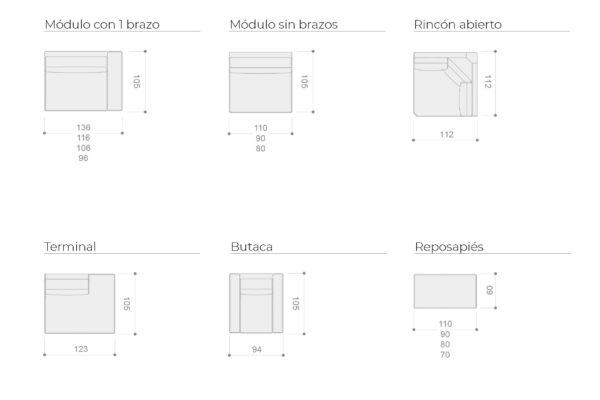 Ficha técnica de sofás y butacas 10a-0006