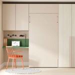Dormitorio juvenil con cama abatible vertical 12d-0011 color nature y arena veronese vista cerrada