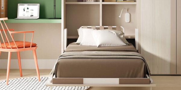 Dormitorio juvenil con cama abatible vertical 12d-0011 color nature y arena veronese vista de detalle