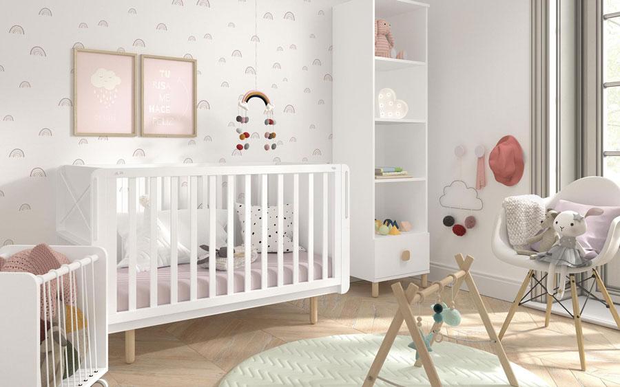 Cuna fold de dormitorio bebé 12h-0001 color blanco vista competa
