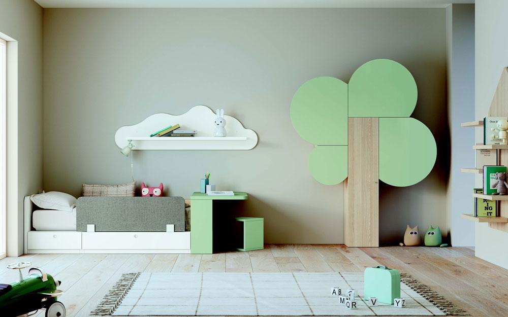 Habitación kids 12i-0004 color blanco y verde vista completa
